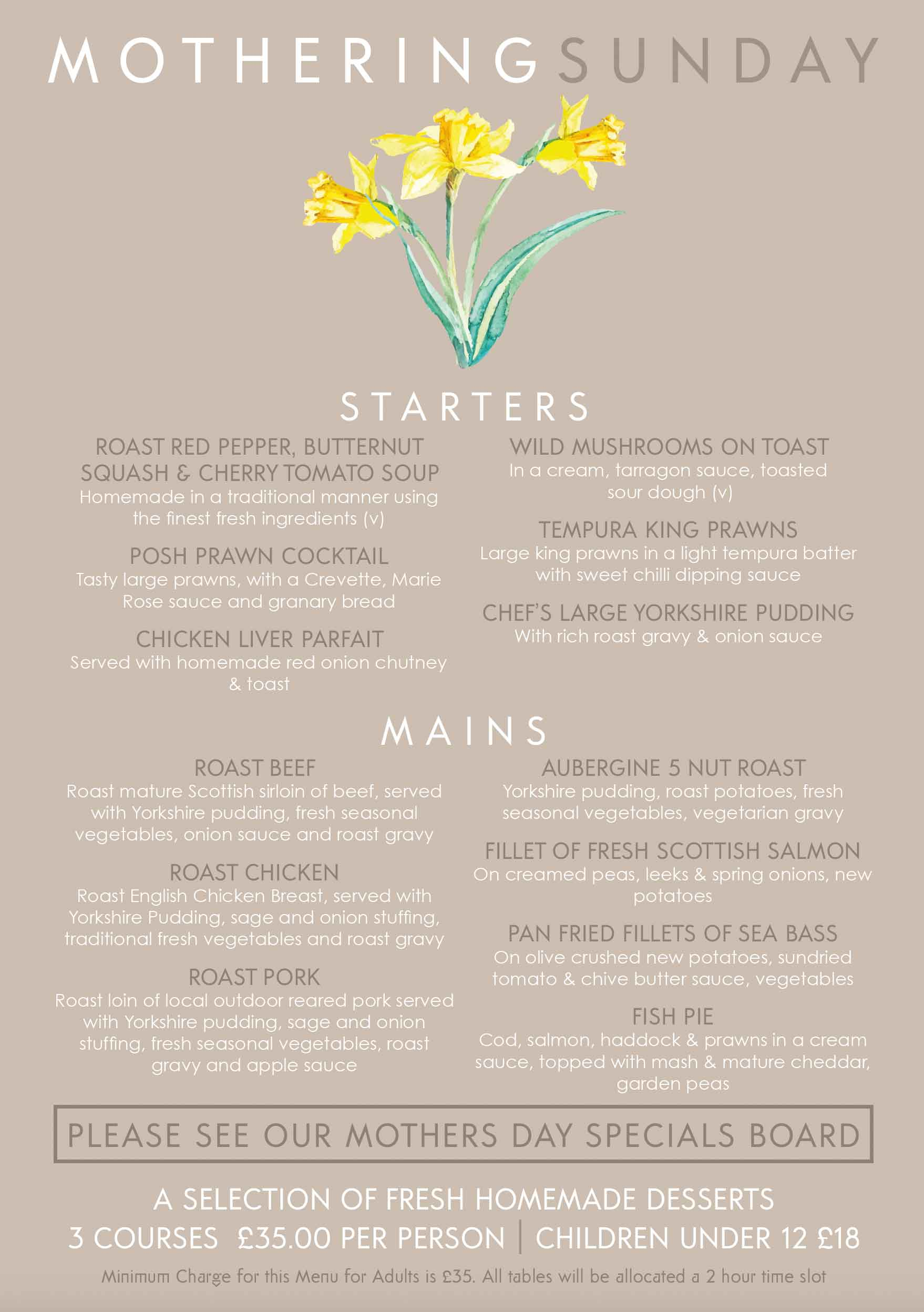 Whitehouses Mothers Day Menu